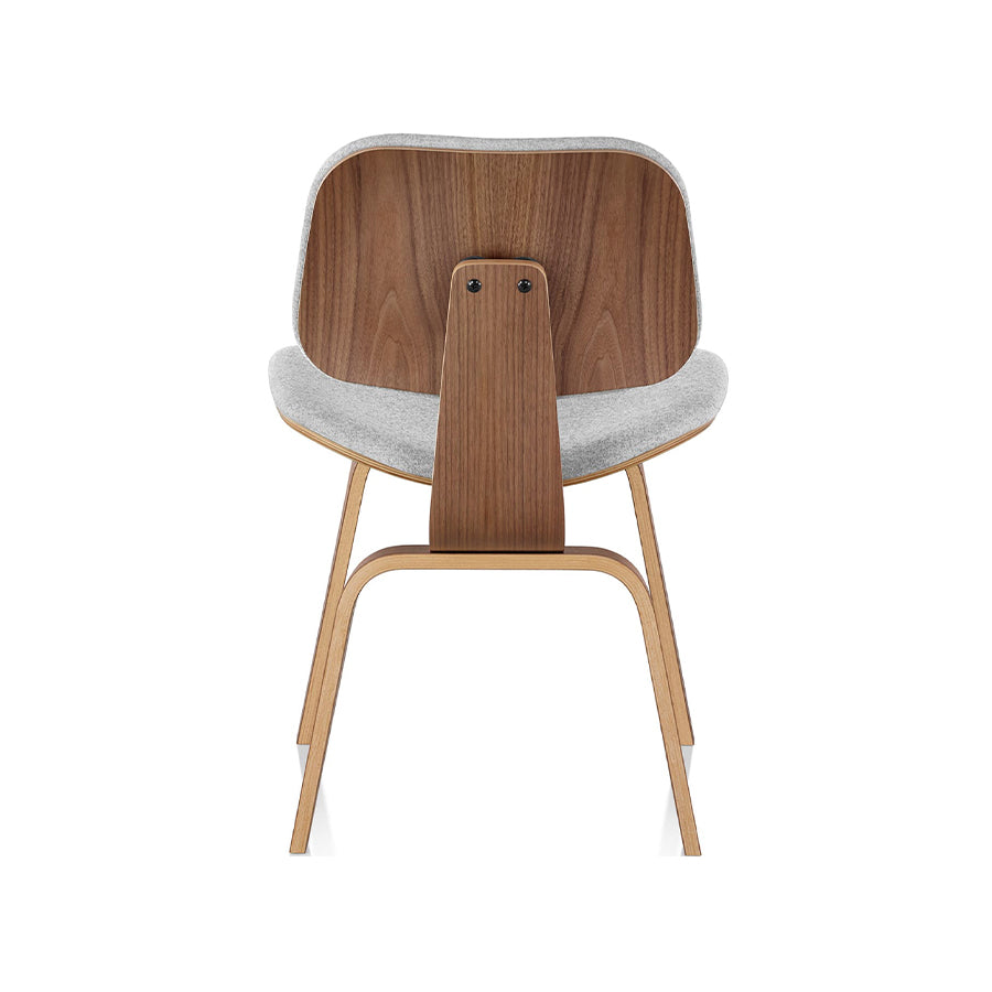 Eames Molded Plywood Chair With Wood Base And Upholstered Shell