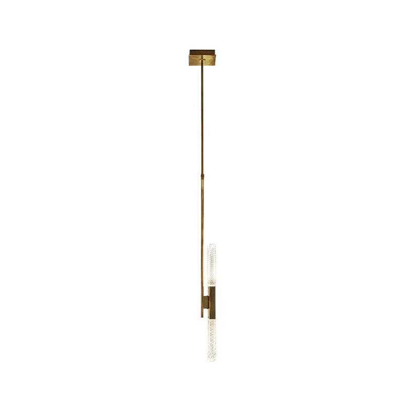 Mikado So Solo Pendant Lamp in satin vintage brass with clear crystal