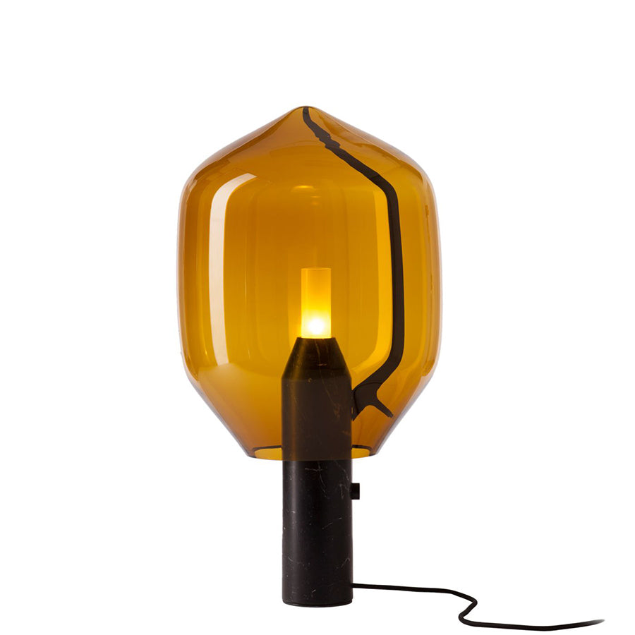 LIGHTHOUSE TABLE LAMP IN AMBER BLOWN GLASS AND BLACK MARQUINIA MARBLE BASE