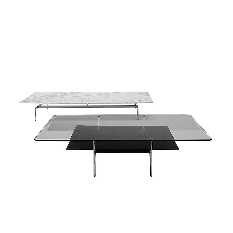 Diesis Small Table With Transparent Glass Top And 150 Black Thick Leather