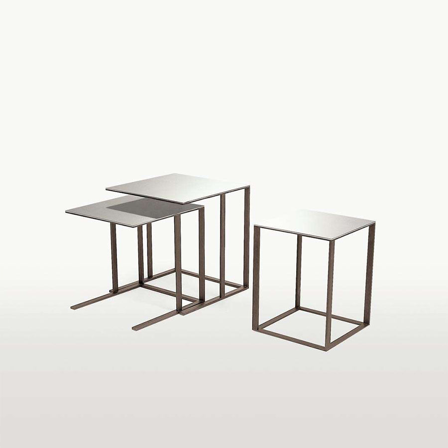 Elios SMTM2S_CL Small Table in Bright Chrome and Mirror Top