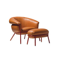 Grasso Armchairs and Footrest In R3013 Leather