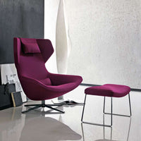 Metropolitan Swivel Armchair With Headrest In 102 Serle Ecru Fabric