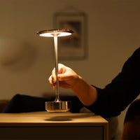 Turn Cordless Table Lamp in Brass