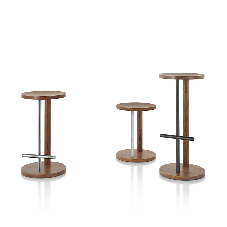 Spot Stool In Walnut And Brass Metal Post And Footrest