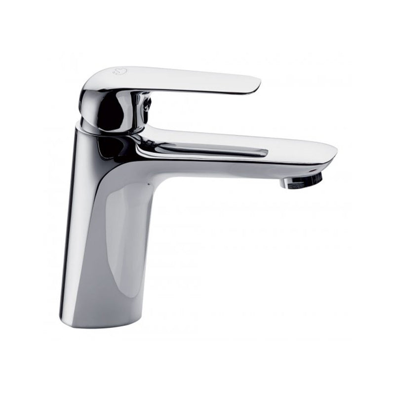 MU200CC deck-mounted washbasin mixer in chrome with click-clack waste