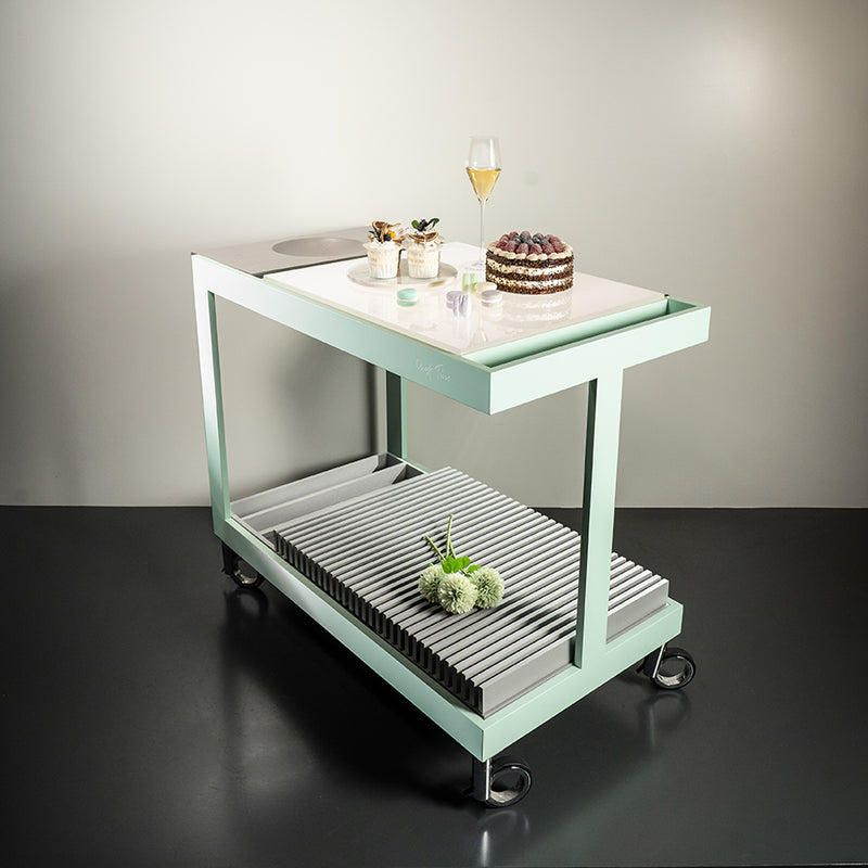 Light Trolley in Pastel Mint and Grey