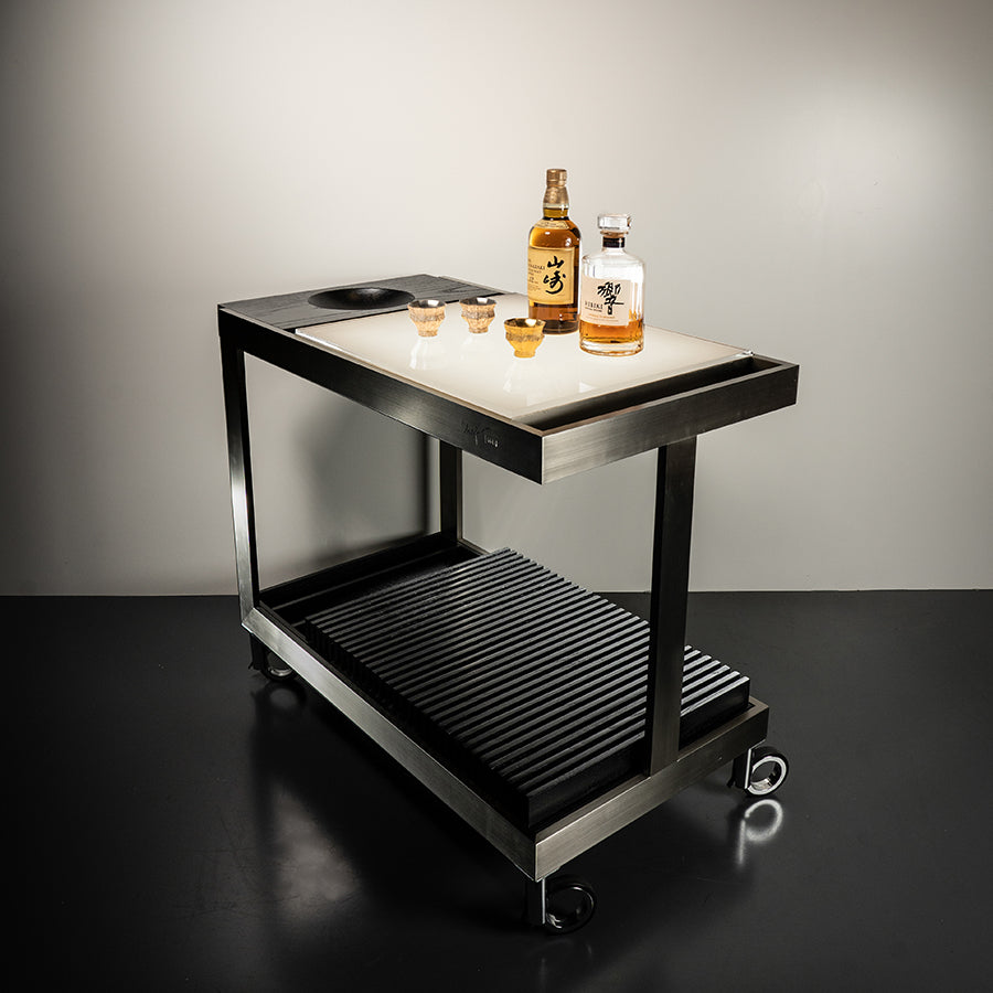 Light Trolley in Stainless Steel + Black