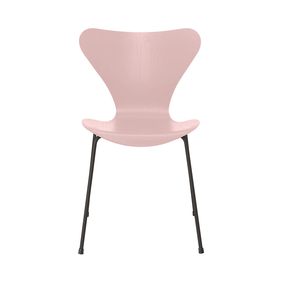 FRITZ HANSEN Series 7 3107 Chair, 500w x 520d x 820h mm, Frame Warm Graphite, Shell Pale Rose Coloured Ash 615