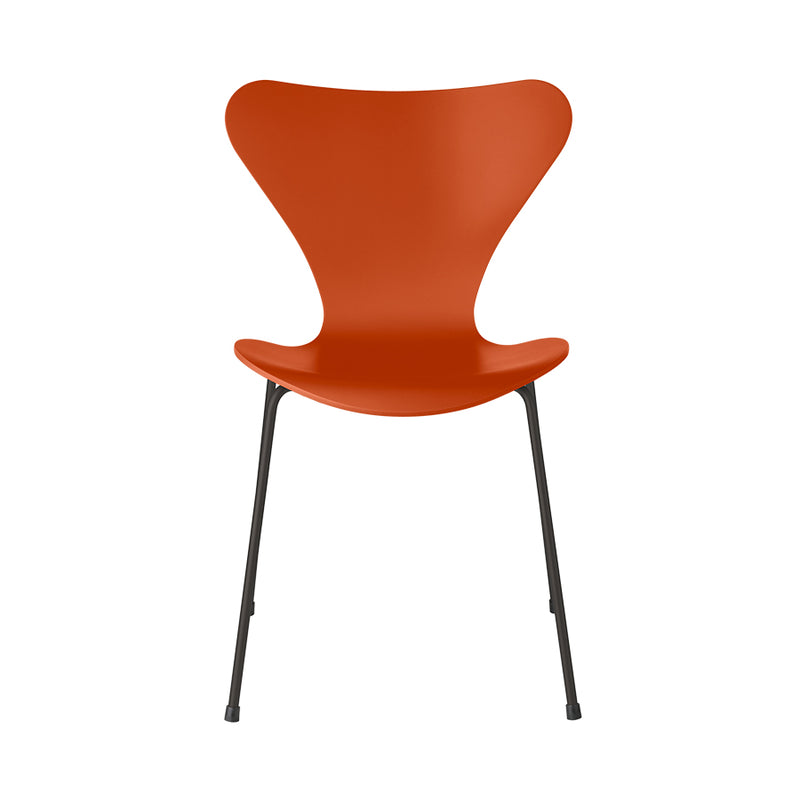FRITZ HANSEN Series 7 3107 Chair, 500w x 520d x 820h mm, Frame Warm Graphite, Shell Paradise Orange Lacquered 570