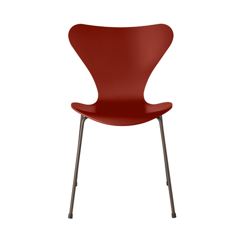 FRITZ HANSEN Series 7 3107 Chair, 500w x 520d x 820h mm, Frame Brown Bronze, Shell Venetian Red Lacquered 670