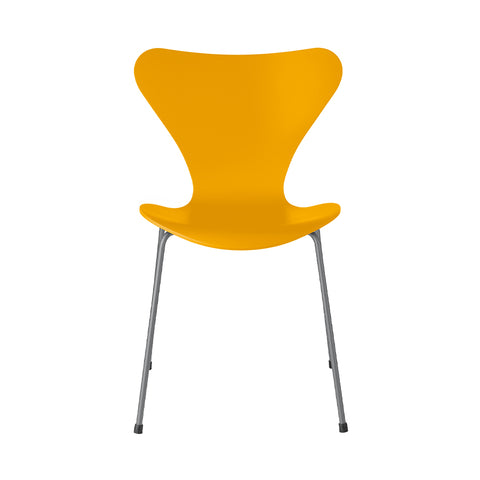 FRITZ HANSEN Series 7 3107 Chair, 500w x 520d x 820h mm, Frame Silver Grey, Shell True Yellow Lacquered 460