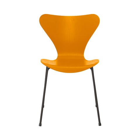 FRITZ HANSEN Series 7 3107 Chair, 500w x 520d x 820h mm, Frame Warm Graphite, Shell Burnt Yellow Coloured Ash 475
