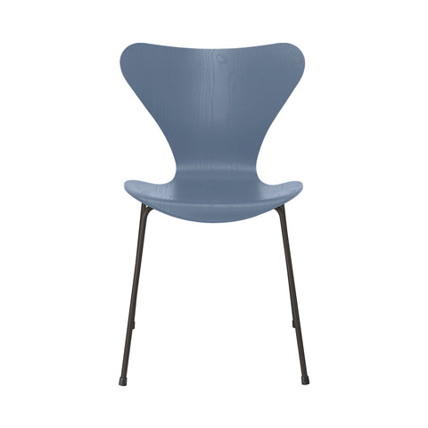 FRITZ HANSEN Series 7 3107 Chair, 500w x 520d x 820h mm, Frame Warm Graphite, Shell Dusk Blue Coloured Ash 855