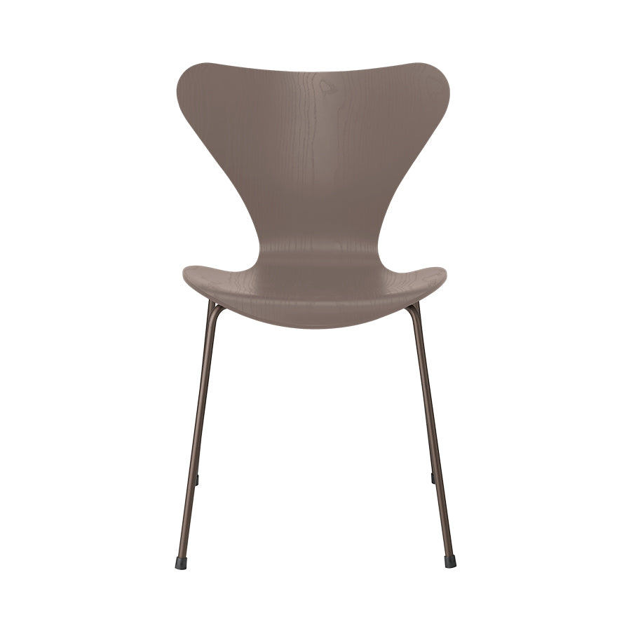 FRITZ HANSEN Series 7 3107 Chair, 500w x 520d x 820h mm, Frame Brown Bronze, Shell Deep Clay Coloured Ash 145[ONLINE EXCLUSIVE]
