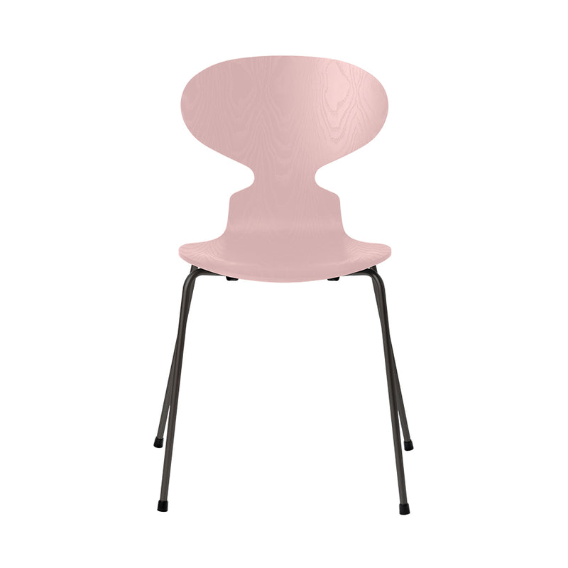 FRITZ HANSEN Ant 3101 Chair, 520w x 480d x 810h mm, Frame Warm Graphite, Shell Pale Rose Coloured Ash 615