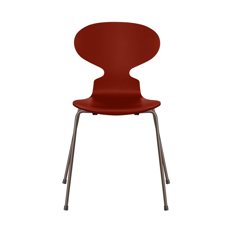 FRITZ HANSEN Ant 3101 Chair, 520w x 480d x 810h mm, Frame Brown Bronze, Shell Venetian Red Lacquered 670