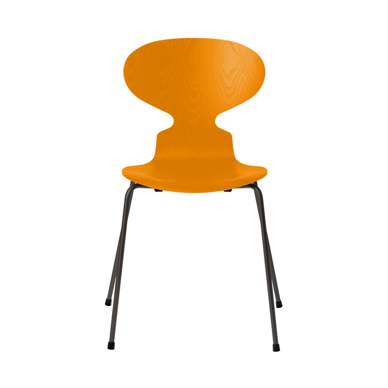 FRITZ HANSEN Ant 3101 Chair, 520w x 480d x 810h mm, Frame Warm Graphite, Shell Burnt Yellow Coloured Ash 475