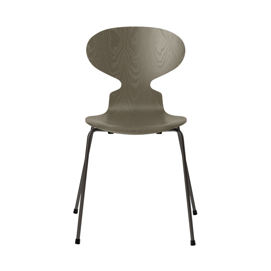 FRITZ HANSEN Ant 3101 Chair, 520w x 480d x 810h mm, Frame Warm Graphite, Shell Olive Green Coloured Ash 925[ONLINE EXCLUSIVE]