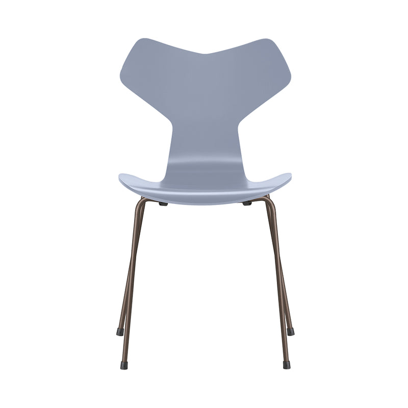 FRITZ HANSEN Grand Prix 3130 Chair, 480w x 510d x 830h mm, Frame Warm Graphite, Shell Lavender Blue Lacquered 810