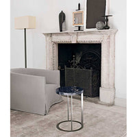 Lithos SMTT3BM Small Table With Glossy Calacatta White Marble Top SMTT3BM