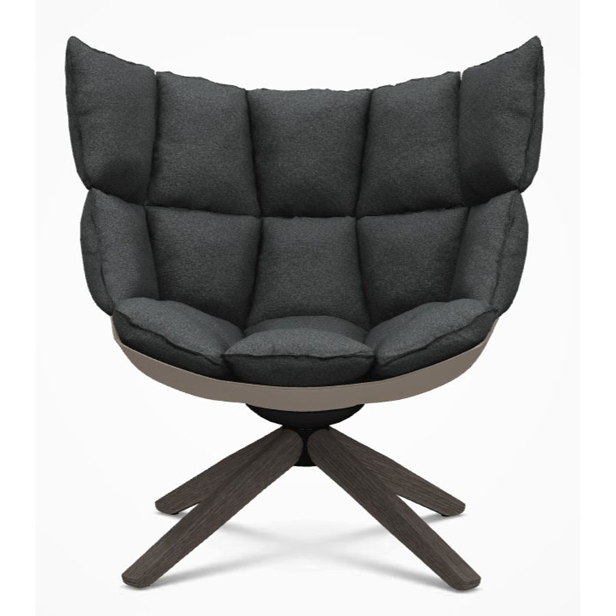 Husk H2G Armchair Swivel armchair with snug sides in Grey Oak Frame and Lodi 420 Fabric
