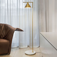 Captain Flint Floor Lamp in Brushed Brass and White Marble