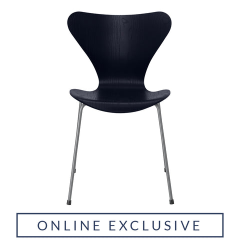 FRITZ HANSEN Series 7 3107 Chair, 500w x 520d x 820h mm, Frame Silver Grey, Shell Midnight Blue Coloured Ash 895[ONLINE EXCLUSIVE]