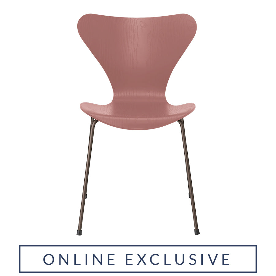 FRITZ HANSEN Series 7 3107 Chair, 500w x 520d x 820h mm, Frame Brown Bronze, Shell Wild Rose Coloured Ash 635[ONLINE EXCLUSIVE]