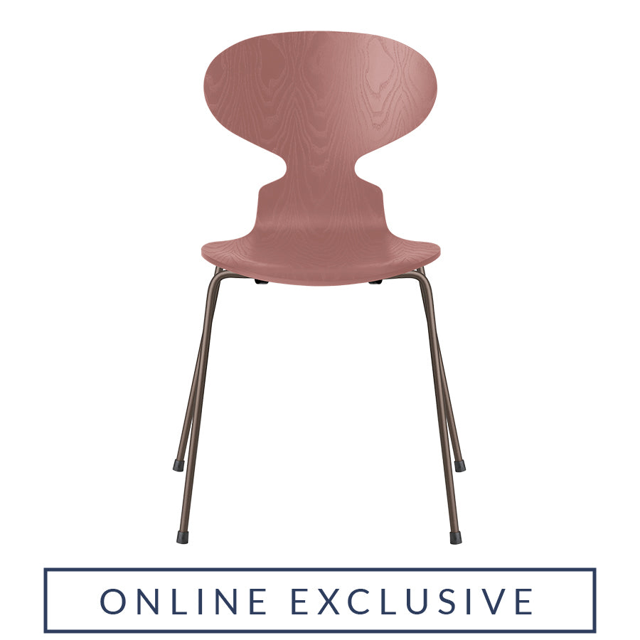 FRITZ HANSEN Ant 3101 Chair, 520w x 480d x 810h mm, Frame Brown Bronze, Shell Wild Rose Coloured Ash 635[ONLINE EXCLUSIVE]