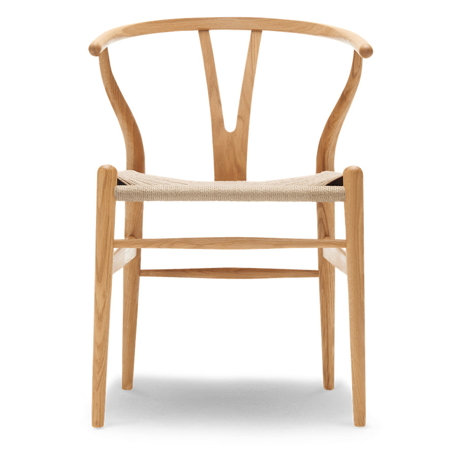 Carl Hansen & Son Wishbone CH24 Chair, 750w x 550d x 510h mm, Frame Natural White, Seat Natural Paper Cord
