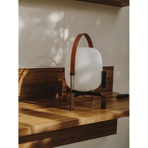 Cesta Table Lamp in Cherry wood and Lampshade in White opal glass