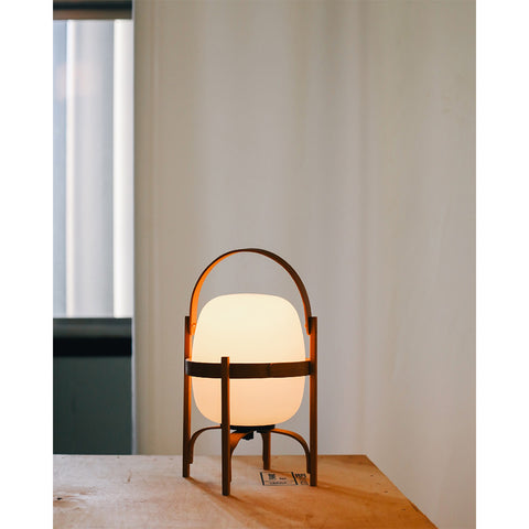Cestita Bateria Table Lamp in Cherry wood and Lampshade White opal opal polyethylene