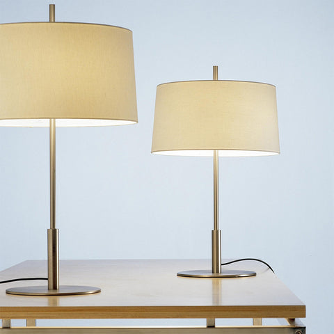 Diana Table Lamp DIATB02 in Satin nickel metallic and Lampshade in White linen