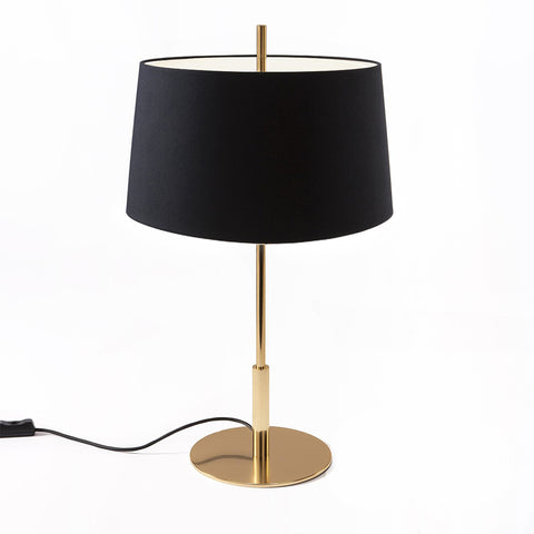 Diana Table Lamp DIATB04 in Shiny Gold and Lampshade in  Black linen