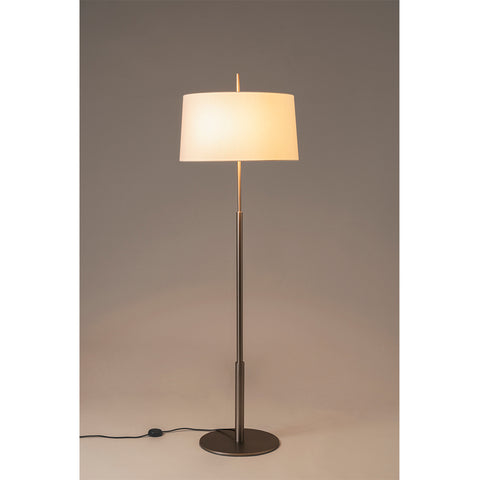 Diana Floor Lamp in  Shiny Gold l and Lampshade in White linen