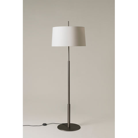 Diana Floor Lamp in  Satin nickel and Lampshade in White linen