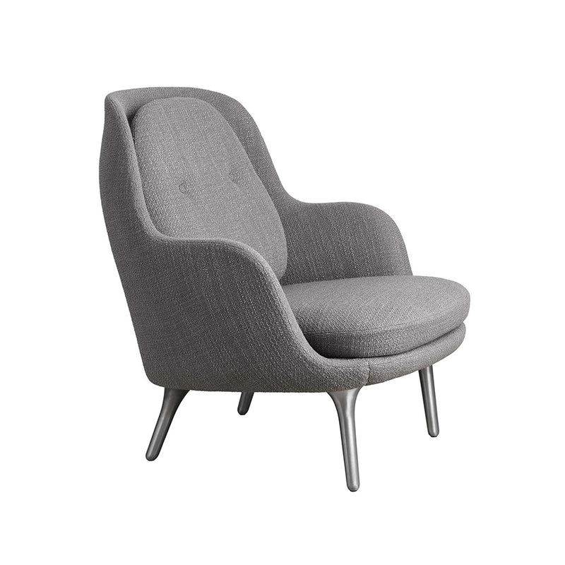 Fri Armchair in rushed Aluminum and Christianshavn 1121 Beige Fabric