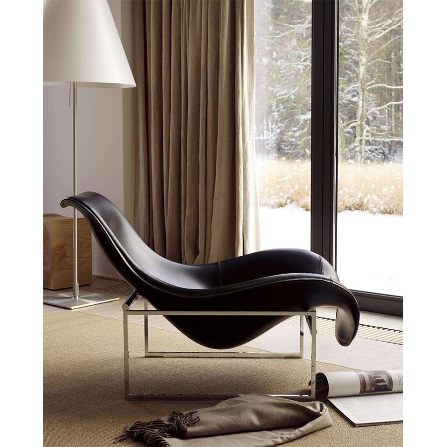 Mart MPG_CN Armchair in Black Chromed Frame and Thick Leather 280