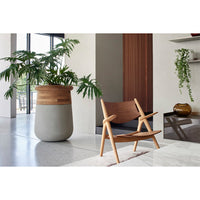 Soma S Planter in Top Oiled Wood and Black