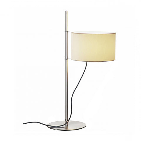 TMD Table Lamp in Satin nickel structure and Lampshade in white linen