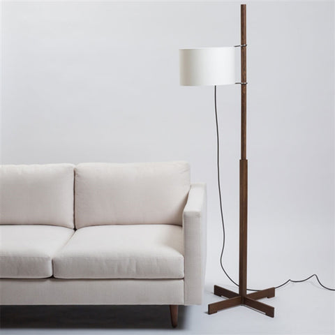 TMM Floor Lamp in Walnut wooden structure and Lampshade in Beige parchment