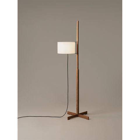 TMM Floor Lamp in Natural oak wooden structure and Lampshade in White parchment