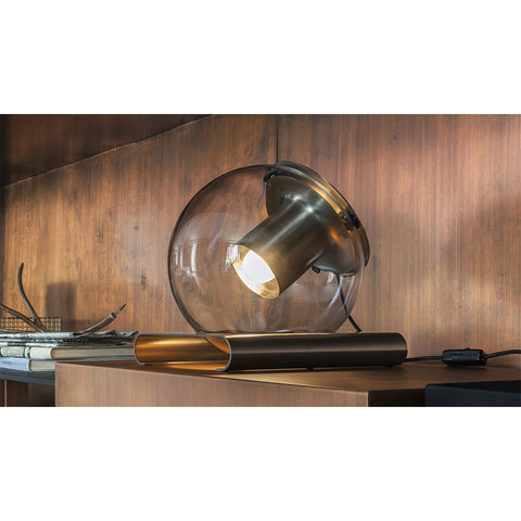 The Globe Table Lamp in Satin Gold and bronze