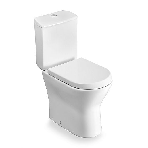 Nexo close-coupled toilet in white with dual outlet