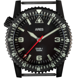 ARES® DIVER-1B Mission Timer® No Date in Deep Black PVD coating