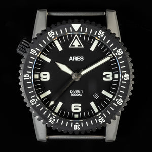 ARES® DIVER-1C Mission Timer® with Date in combination Bead Blasted Stainless & Deep Black PVD coating