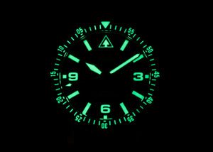 DIVER-1 Mission Timer® lume showing the intense SuperLumiNova