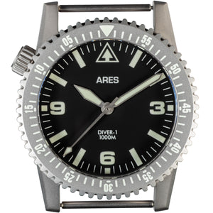 ARES® DIVER-1 Mission Timer® No-Date in Bead Blasted Stainless