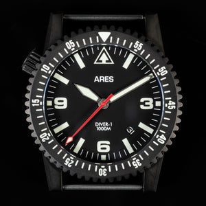 ARES® DIVER-1B Mission Timer® with Date in Deep Black PVD coating